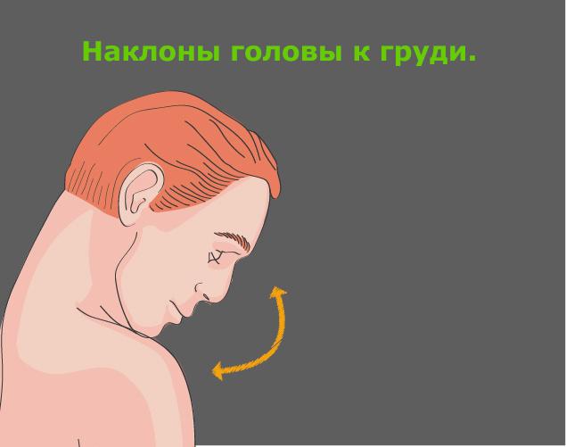 Профилактика шейного остеохондроза: наклоны головы к груди